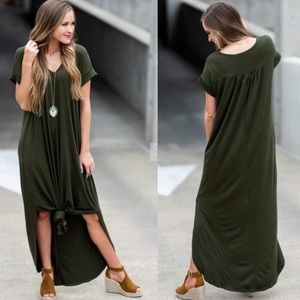 Dresses & Skirts - Olive green maxi tee shirt dress